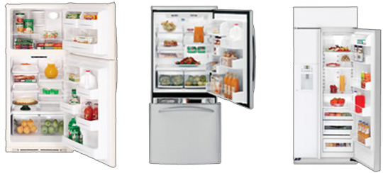 Three types of refrigerators. Top mounted (freezer on top), bottom mounted (freezer on bottom), and side by side (freezer next to refrigerator).