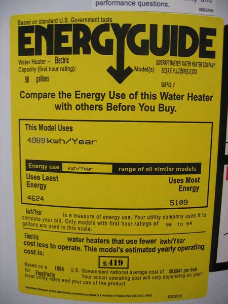 EnergyGuide Label for the $350.00 Water Heater