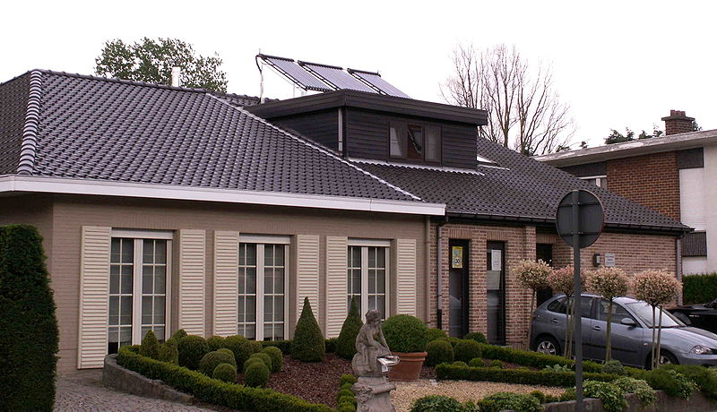 A roof mounted solar water heater.