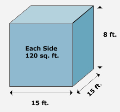 Cube, Height = 8 ft, Width = 15 ft, Depth = 15 ft, each side = 120 sq ft.