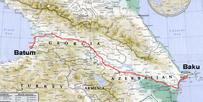 Map of Turkey highlighting the train route from Baku to Batum