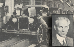 black and white photo of ford car and a portrait of Henry Ford
