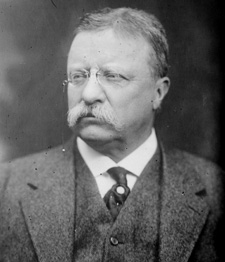 A Black and White headshot of Theodore Roosevelt