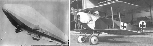 left: Black and white image of a zeppelin, and right: Black and white image of a biplane
