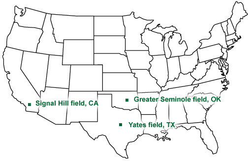 Map Showing Signalhill Field Ca Yates Field Tx And Greater Seminole Field Map Of Major Us Oil