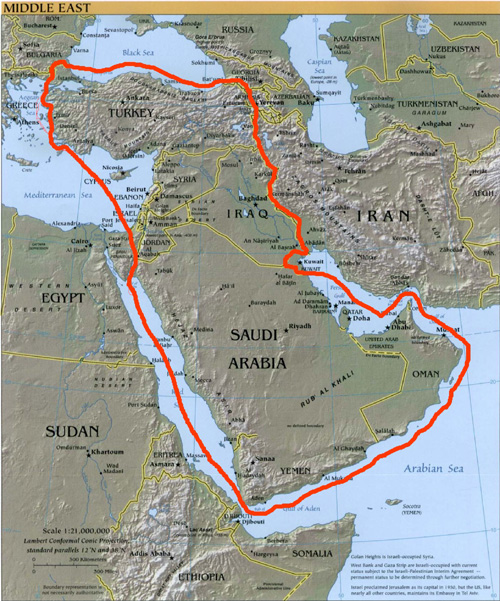 Map of the Red Line Agreement which included the entire Middle East, except Kuwait and Iran