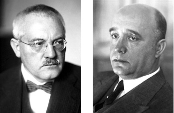 Black and white headshots of Carl Bosch and Friedrick Bergius