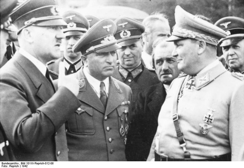 A Black and white photo of Hitler with some of his generals