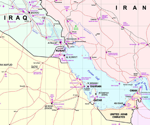 A map showing Iraq, Kuwait, Saudi Arabia and the UAE as well as their location on the gulf