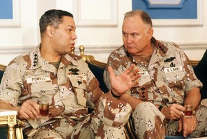 Colin Powell and Norman Schwarzkopf having a conversation