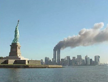 Picture taken during the 9/11 attacks from the statue of liberty