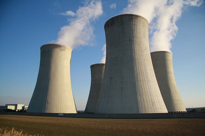 steam coming out of two cooling towers