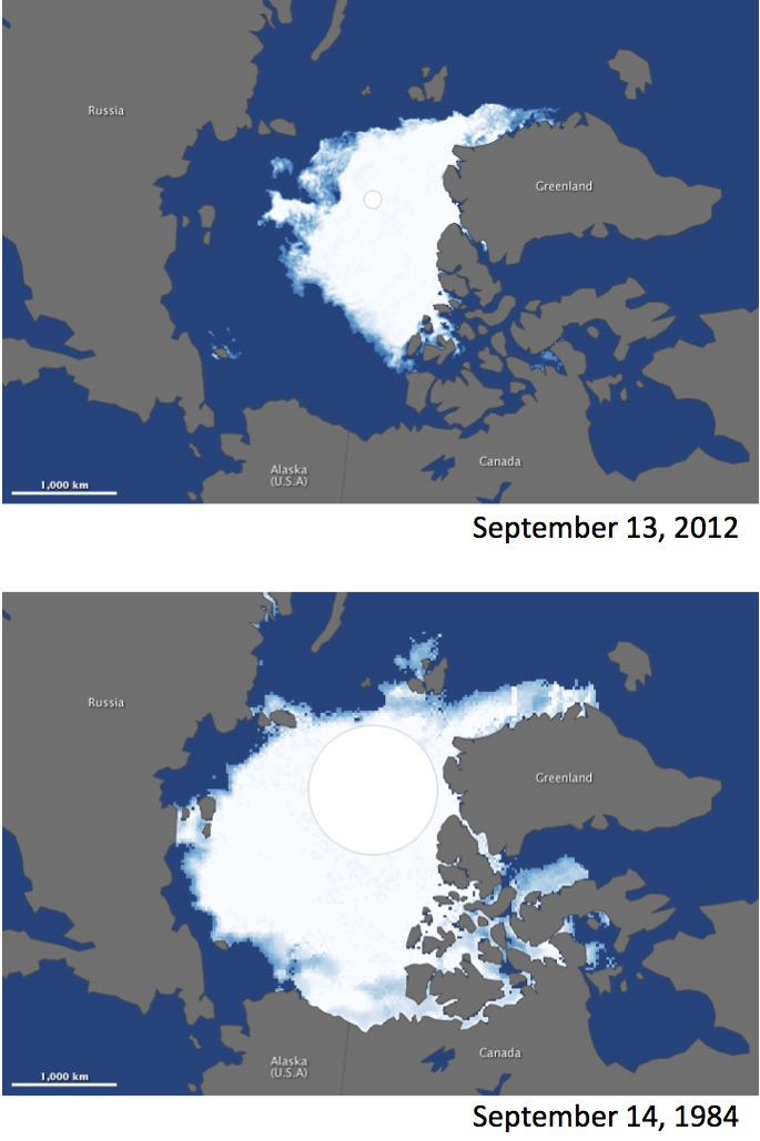 Changes in poiar ice cap, see image caption