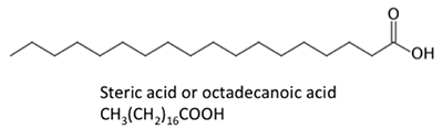 Steric acid CH3(CH2)16COOH, all single carbon to carbon bonds.