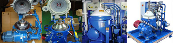 Various industrial size centrifuges for biodiesel separation, blue cylinder with white cone cap