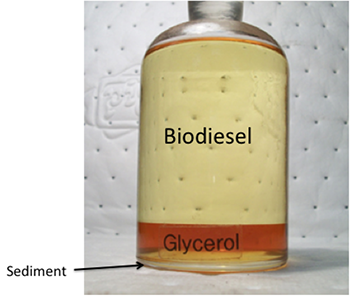 jar containing layers of light (top, biodiesel) and dark (bottom, glycerol withsediment) colored liquid