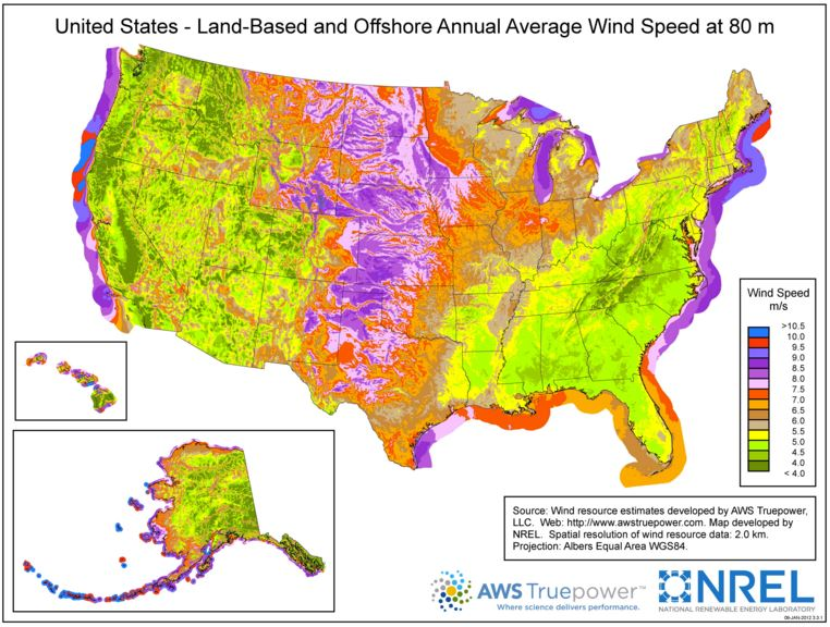 Onshore and offshore average wind speeds in the U.S. Highest speeds along coasts and in central plains