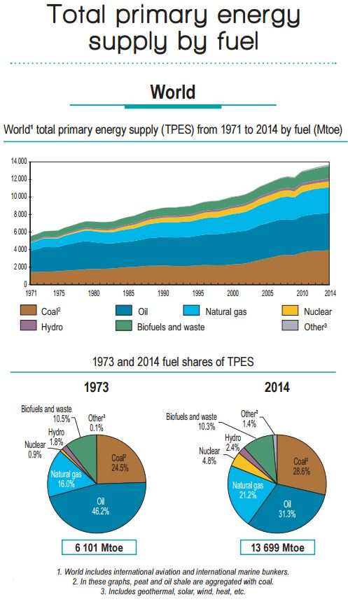 Total primary energy supply by source from 1971 through 2014.