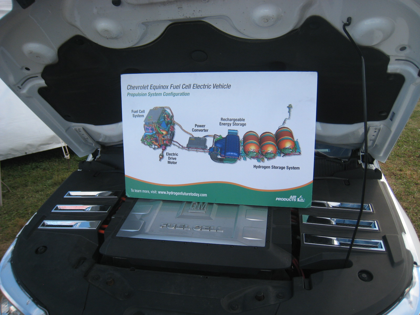 placard describing components of hydrogen-powered engine
