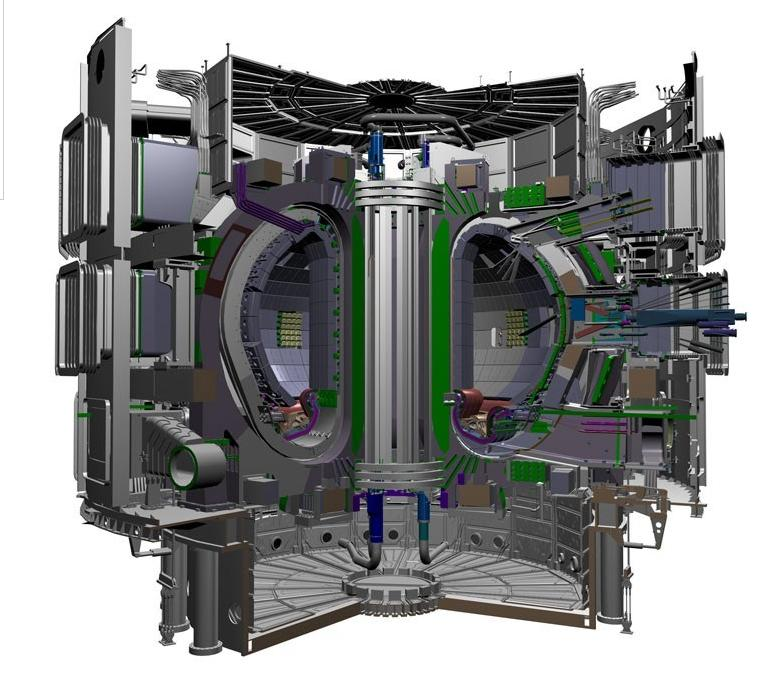 drawing of a tokamak, a chamber used for fusion reactions. Further described in caption