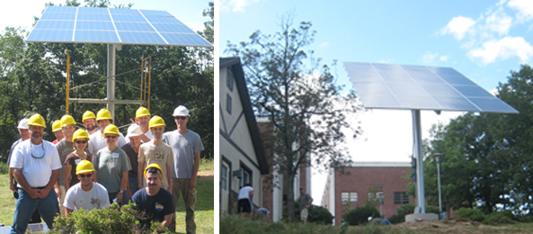 Two pictures: The class and the completed solar array at Penn State's Hazleton campus