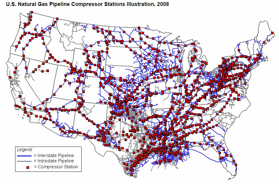 USA map showing compressor stations throughout the U.S.