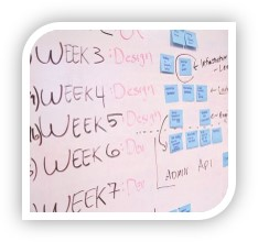 dry erase board with very detailed schedule of the completion of a project - a big to do list