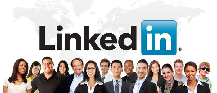LinkedIn logo in the background with pictures of people in the foreground