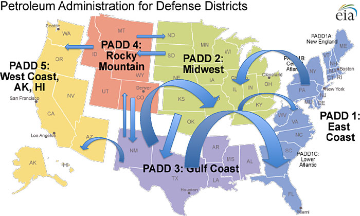 Map showing Petroleum Administration for Defense Districts described in article above