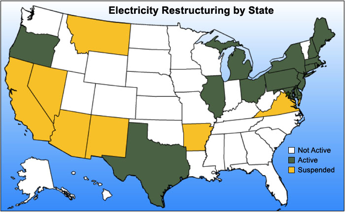 US map shows electricity restructuring by state. Active:OR TX IL MI OH NY PA MD DE NJ CT MA RI NH& ME. Suspended:CA, NV, AZ, NM, MT, AR & VA