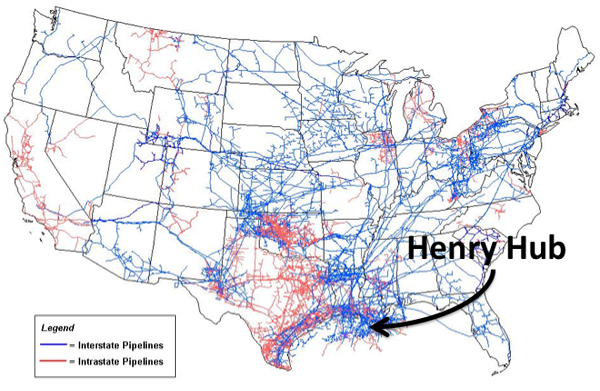 N. American gas pipeline map. Figure described in caption.