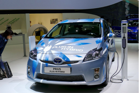 Toyota Prius plugged in and recharging