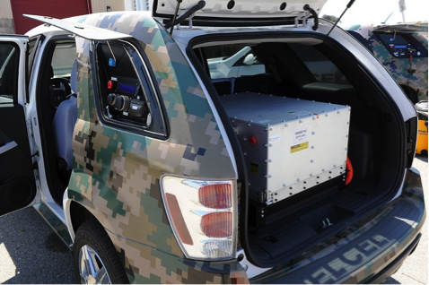 military car with a fuel cell in trunk