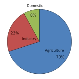 pie diagram of water use in agriculture, industry, and domestic. (Industry: 22%, Domestic: 8%, and Agriculture: 70%)