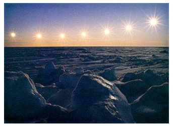 Multiple exposure of the sun at Barrow, Alaska. Image adequately described in caption.