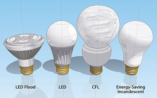 Types of lightbulbs as described in the text: LED flood, LED, CFL, and Energy saving incandescent