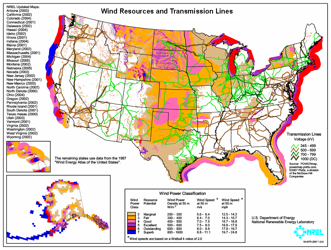 Wind resources in the U.S, best resources are generally on the coasts over water. Full description in caption.