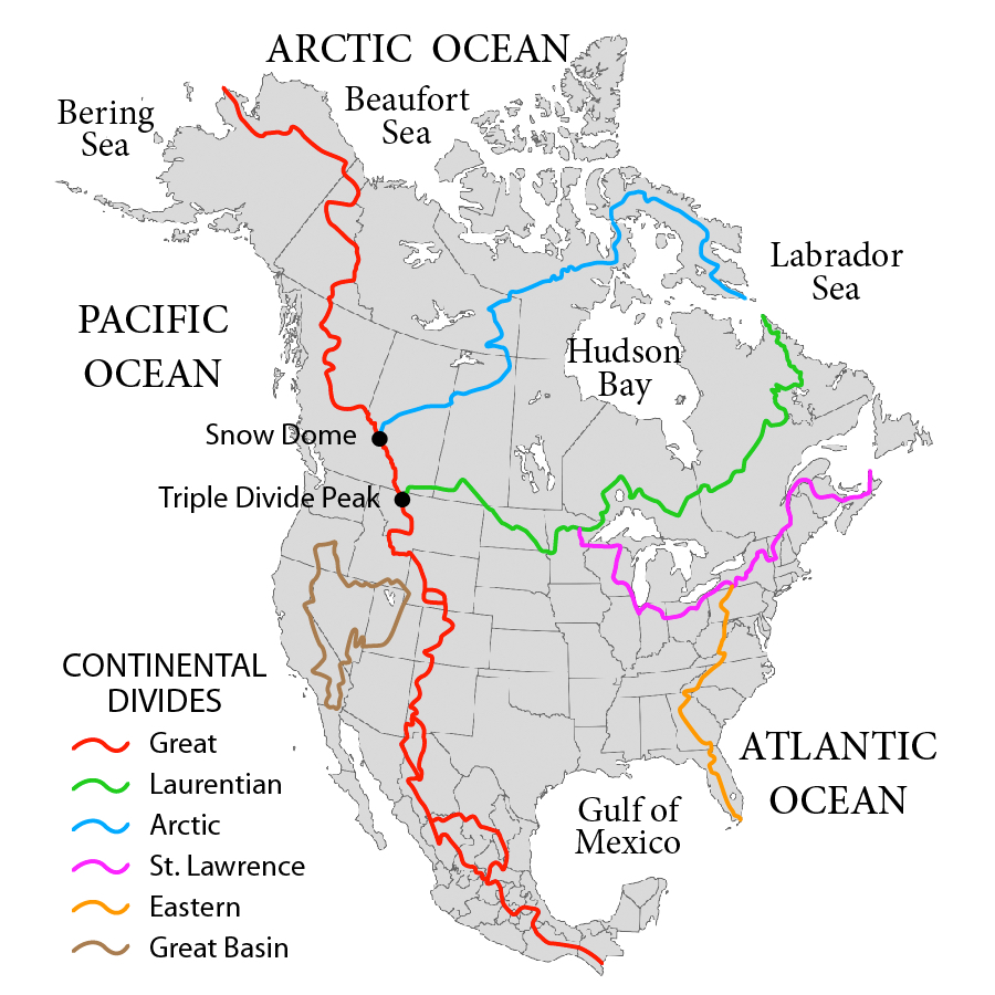 Us And Canada Physical Map Continental Divide Colorado Geography | EM SC 470: Applied Sustainability in