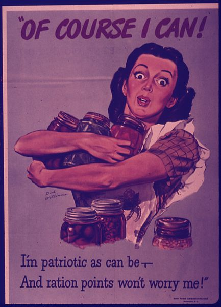 "Woman clutching jars in her arms saying "" of course I can! I'm patriotic as can be- and ration points won't worry me!"""
