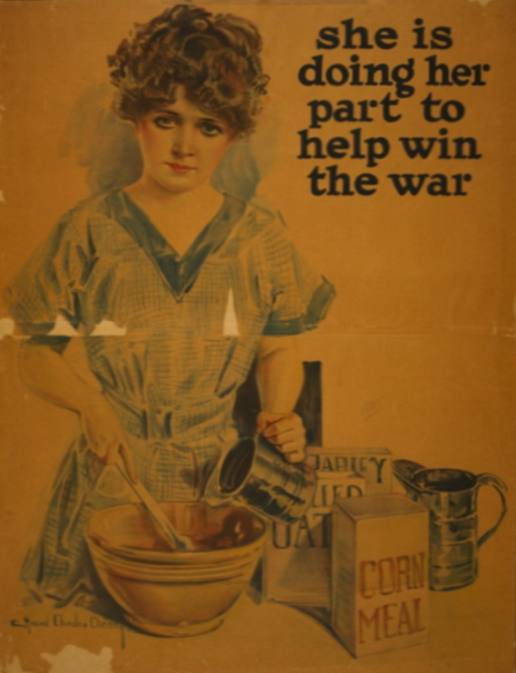 woman mixing in mixing bowl next to the words 'she is doing her part to help win the war'