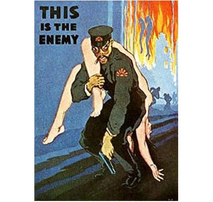 This is the enemy poster with enemy soldier carrying nude woman on his back