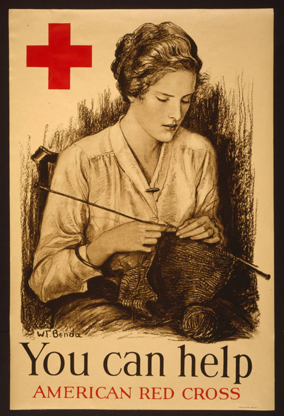 red cross poster saying you can help and picturing a woman knitting