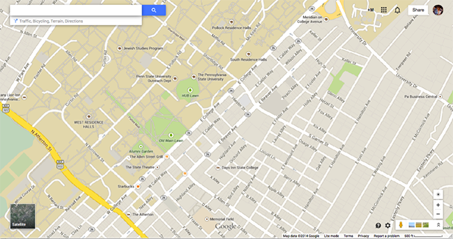 screenshot of google maps map of state college, pa and university park campus