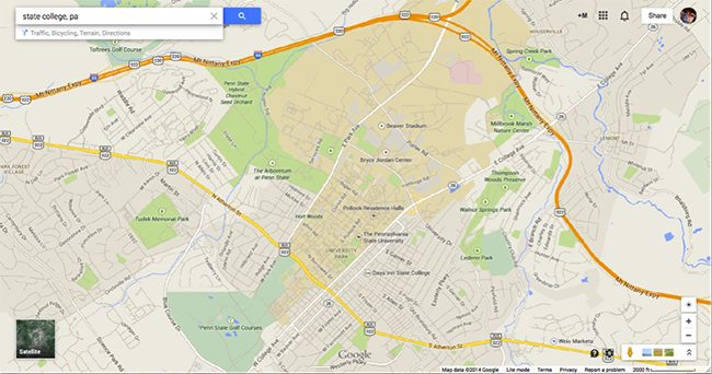 screenshot of google maps map of state college, pa