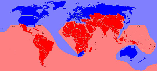 world map showing MEDCs and LEDCs. MEDCs are Russia, Australia, US and Europe. LEDCs include S. America, Africa, and Asia