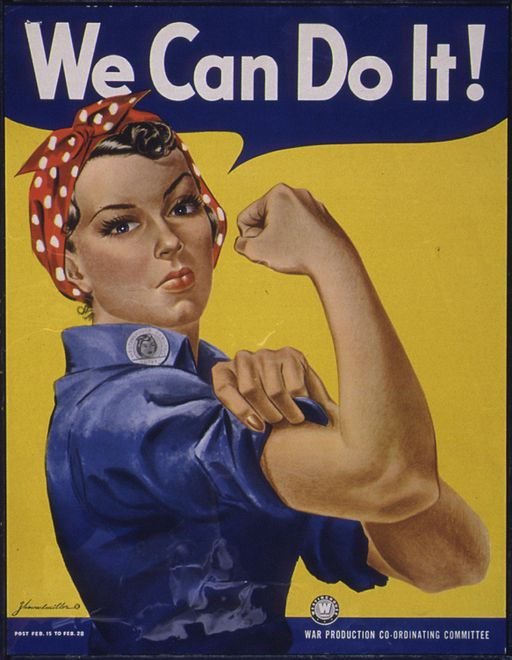 rosie the riveter flexing arm muscles saying 'we can do it!'