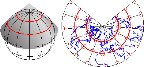 Conceptual model of a Lambert Conformal Conic map projection and the resulting map.