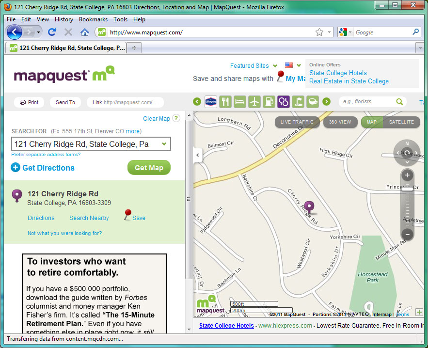Screenshot of an address geocoded by mapquest in 2011.
