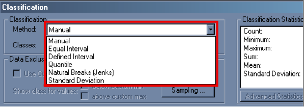 Portion of the ArcMap classification dialog box.