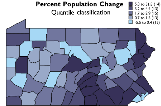 The five quantile classes mapped on Pennsylvania.